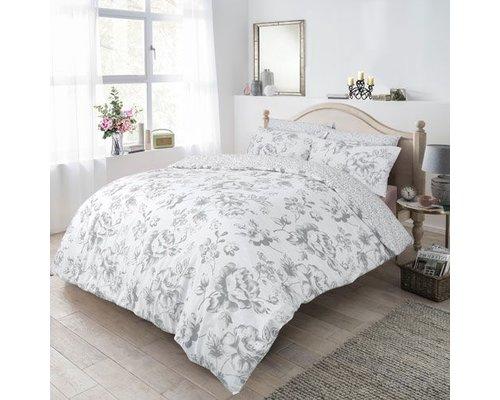 Monochrome floral dekbedovertrek grijs