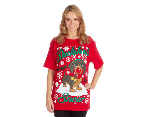 Kerst T-shirt Teckel
