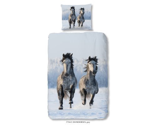 Good Morning Dekbedovertrek snow horses flanel 140x220 cm