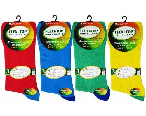Tropicolour sokken met Flexi-Top zonder elastiek (Per 3 paar)