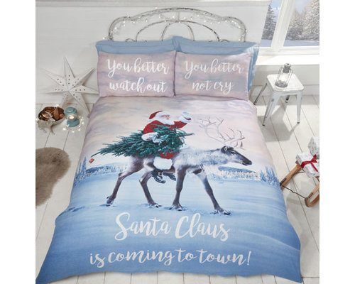 Decoware Kerst Dekbedovertrek Santa Claus is coming to town