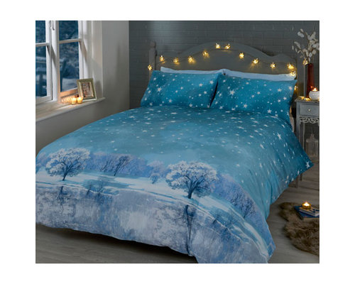 Decoware Dekbedovertrek Starry winter night blauw