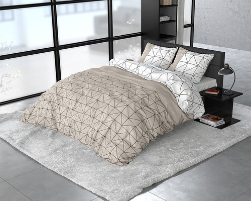 Sleeptime Flanel dekbedovertrek Gino taupe 240x220 cm