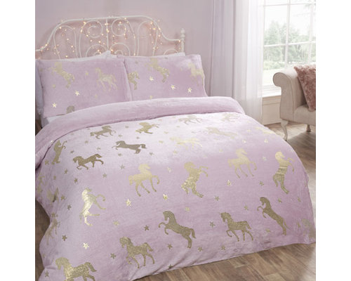 Sleepdown Super zachte fleece dekbedovertrek unicorn blush pink