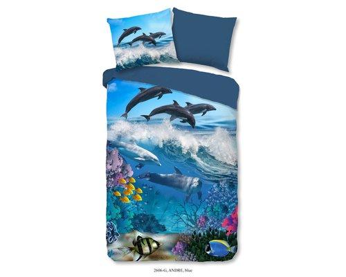 Good Morning Dekbedovertrek Dolfijnen & vissen 140x220 cm