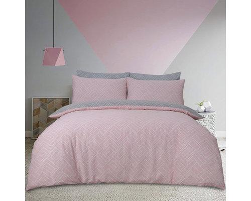Sleepdown Dekbedovertrek Square Dots geo grijs/roze