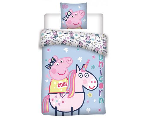 Peppa Pig Dekbedovertrek Unicorn blauw