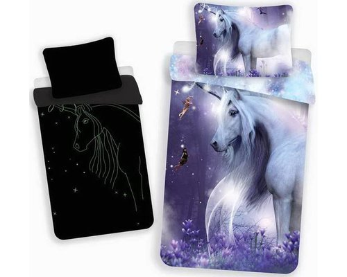 Unicorn ledikant Dekbedovertrek glow in the dark