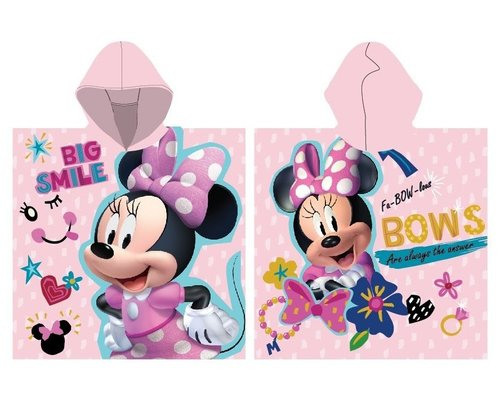 Minnie Mouse Badponcho met capuchon pink