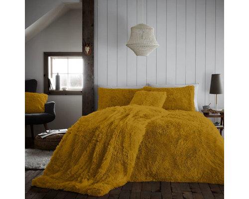 Hug & Snug Fluffy dekbedovertrek oker geel