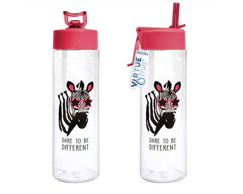 Decoware Zebra waterfles met rietje 600 ml