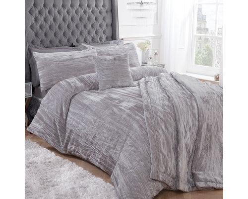 Sleepdown Crinkle velvet dekbedovertrek zilver grijs