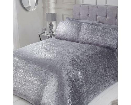Sleepdown Folie print paisley velvet dekbedovertrek zilver grijs