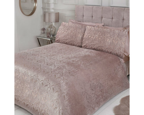 Sleepdown Folie print paisley velvet dekbedovertrek blush