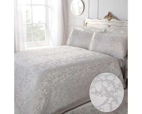 Sleepdown Lurex jaquard marble dekbedovertrek zilver grijs