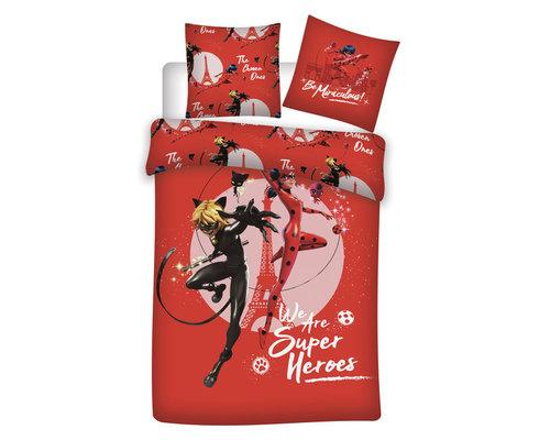 Miraculous dekbedovertrek Ladybug Superheroes 140x200 cm