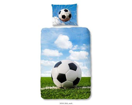 Good Morning Dekbedovertrek flanel Voetbal 140x220 cm
