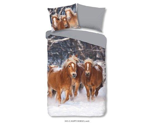 Good Morning Dekbedovertrek pony's flanel 140x220 cm