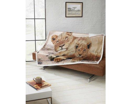 Decoware Leeuwen Fleece deken 130x160 cm