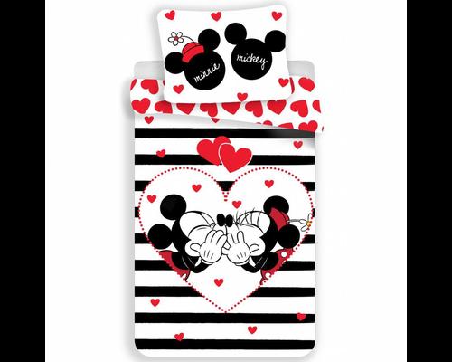 Disney Dekbedovertrek Mickey & Minnie in love stripe