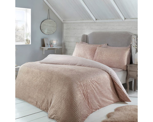 Sleepdown Super zacht rib fleece sparkle dekbedovertrek blush