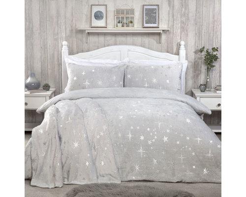 Sleepdown Super zachte fleece dekbedovertrek stars silver