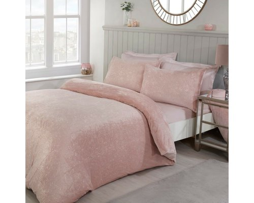 Sleepdown Super zacht glitter fleece dekbedovertrek blush
