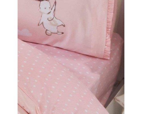 Peuter hoeslaken stip roze 70x140 cm