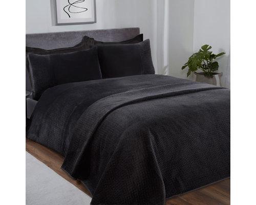Sleepdown Pinsonic velour dekbedovertrek zwart