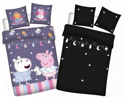 Peppa Pig Ledikant glow in the dark dekbedovertrek party 100x135 cm