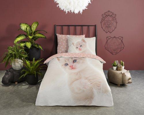 Good Morning Dekbedovertrek kitten cute 140x220cm