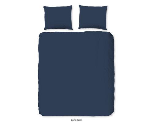 HIP Uni dekbedovertrek donker blauw katoen satijn