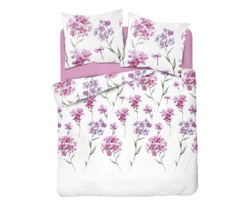 Holland Dekbedovertrek wit met roze bloemen