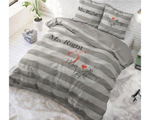 Dreamhouse Dekbedovertrek Mr and Mrs Right grijs