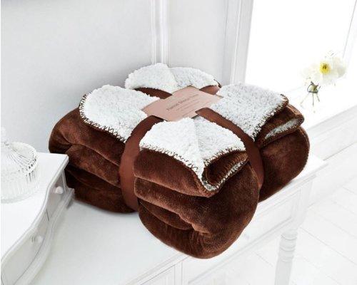 Sherpa fleece deken bruin 150x200 cm