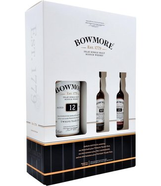 Bowmore 12 Years Old Cadeauverpakking met 2 Mini's - 70 cl