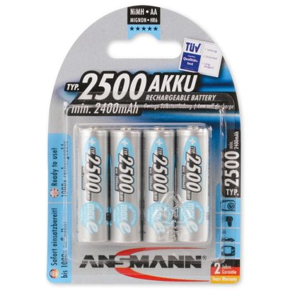 Ansmann AA oplaadbare batterijen 2500 mAh MaxE NiMH