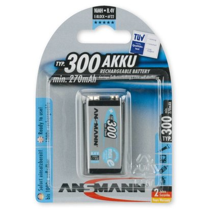 Ansmann 9V blok oplaadbare batterij 300 mAh MaxE