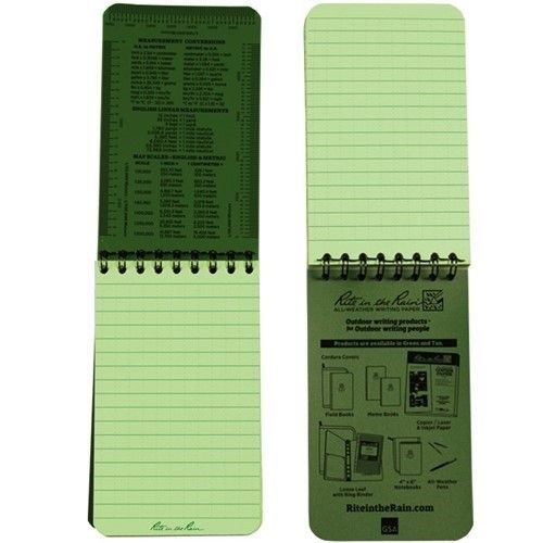 Rite in the Rain Waterproof Notebook Top Spiral Green