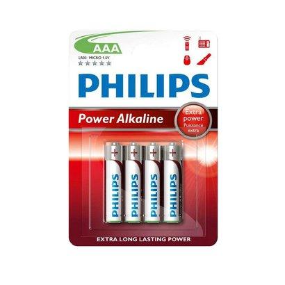 AAA batterijen Philips power alkaline blister 4 stuks