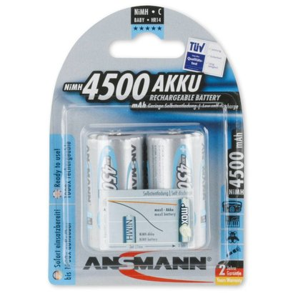 C cell oplaadbare batterijen Ansmann MaxE 1,2V 4500 mAh