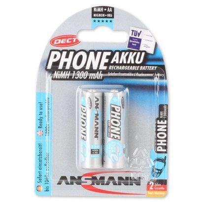 AA oplaadbare batterijen Ansmann 1300 mAh DECT NiMH 1,2V 2 stuks