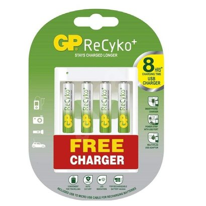 GP recyko batterijlader incl. 4 x AA 2000 mAh batterijen