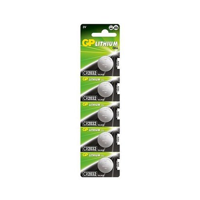 CR2032 batterij 3V GP lithium knoopcel (3 Volt) 5 stuks
