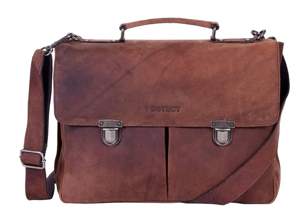DSTRCT Wall Street Charlie A4 Laptoptas 15,4 inch Brown