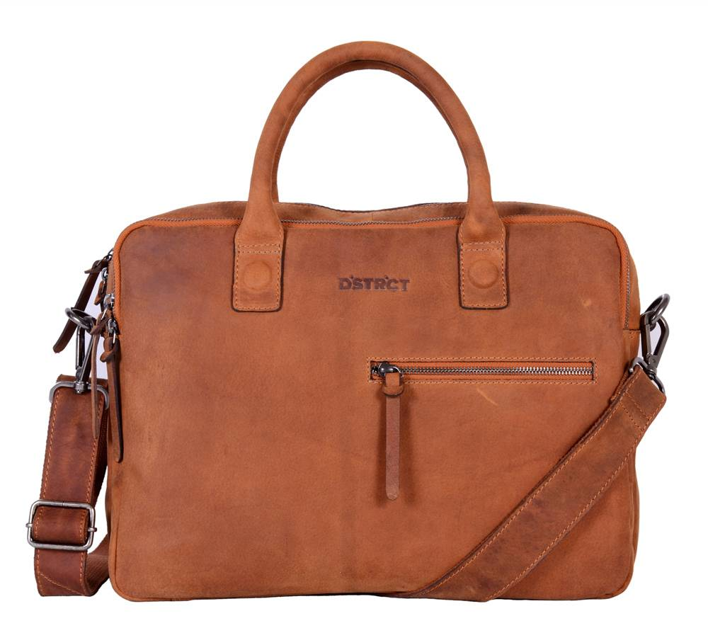 DSTRCT Bravo Wall Street 2-vaks Laptoptas 15,4 inch Cognac