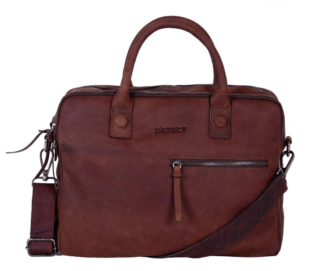 DSTRCT Wall Street Bravo  2-vaks Laptoptas 15,4 inch Brown