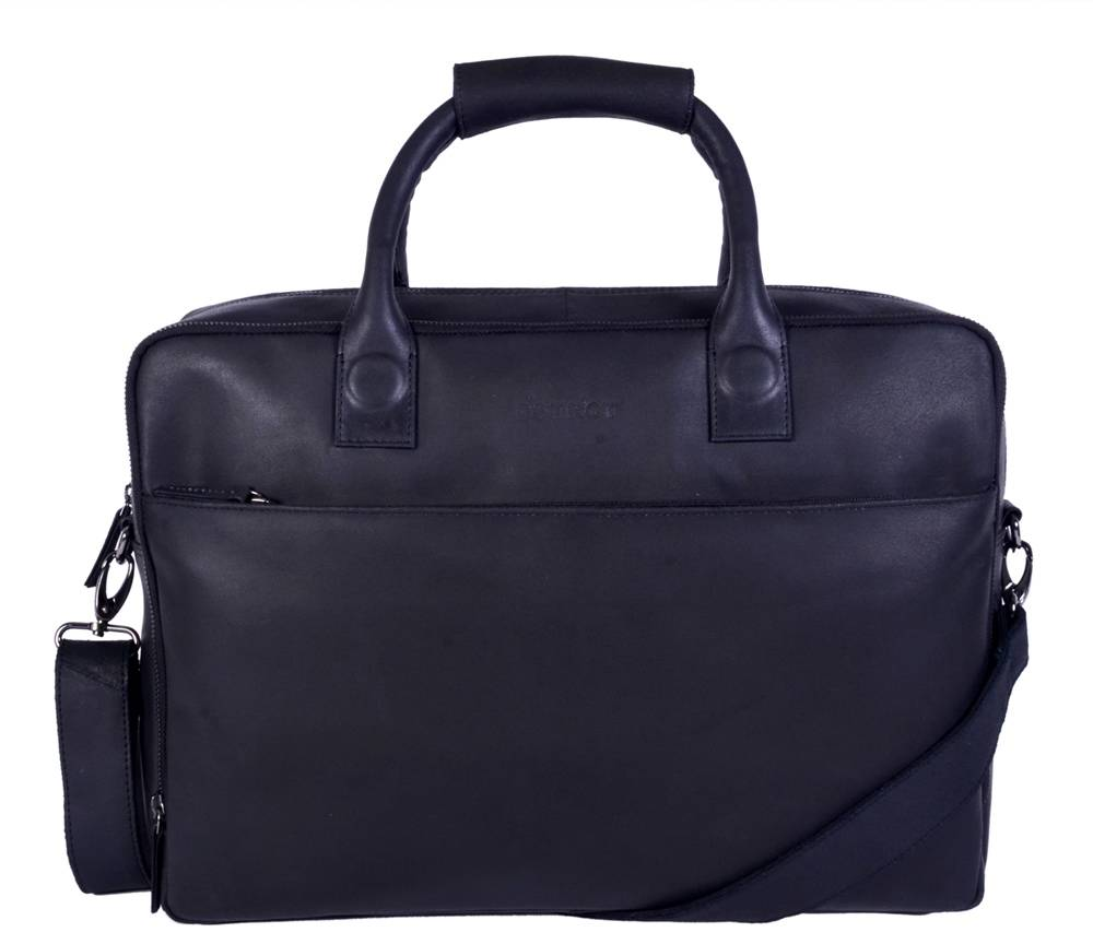 DSTRCT Fletcher Street November Leren Laptoptas 17 inch Black