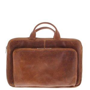 Plevier Plevier Leren Laptophoes  17,3 inch laptoptas Cognac