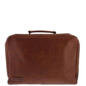Plevier Plevier Leren 2-vaks Laptoptas 15,6 inch Bruin